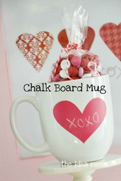 Make Your Own Chalk Board Mugs...love the idea of using colored chalk!