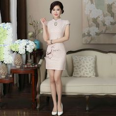 a089fcbef74ab US $43.99  Aliexpress.com : Buy 2017 Spring and Summer Upscale Simple  Bright Color Lace Chinese Style Fashion Fine Embroidery Short Cheongsam  Dress from ...