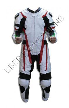 Revit Hunter White Black One Piece Motorbike Racing Leather Suit