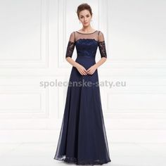 Modré tmavé dlouhé společenské šaty na večer na ples do opery 34 XS