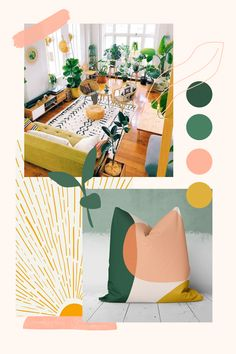 Beautiful and colorful botanical boho inspiration! Personalize your space with this lovely color palette. Room Colors, House Colors, Colours, Boho Room, Boho Living Room, Living Room Decor Inspiration, Colour Schemes, Color Inspiration, Bedroom Decor