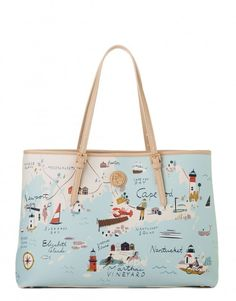 a3adbf99183 Spartina 449 Northeastern Harbors Map Tote Bag at The Paper Store
