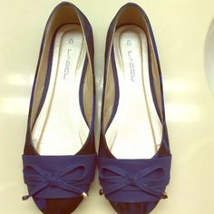 C.LABEL SHOES Blue/black Leopard Print Shoes, never worn in Great Condition, come with the Box   Cute bow in front.  Size 7 1/2 C Label Shoes Flats & Loafers