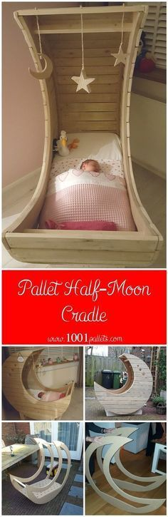 Pallet Furniture Projects I made this half-moon cradle from used pallets. I have all the pallets I needed from my work, so I … - I made this half-moon cradle from used pallets. I have all the pallets I needed from my work, so I … Used Pallets, 1001 Pallets, Recycled Pallets, Pallet Crafts, Pallet Projects, Diy Pallet, Pallet Ideas, Pallet Designs, Pallet Wood