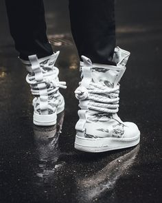 the nike special field air force 1 high winter camo is featured in a lifestyle look and its dropping on nov. sf high winter camo - www. Sneakers Mode, Sneakers Fashion, Fashion Shoes, Shoes Sneakers, Mens Fashion, Winter Camo, Nike Sf Af1, Sneaker Games, Hype Shoes