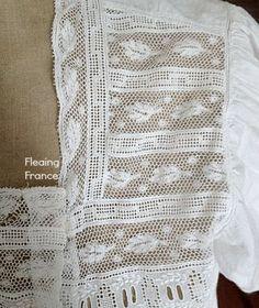 FleaingFrance Brocante Society Beautiful lace bed jacket/blouse-1800's