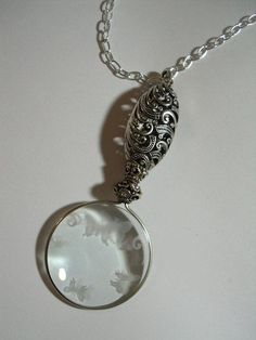 Magnifying Glass Pendant Oxidized Silver Filigree Handle Etched Butterfly Design #Pendant
