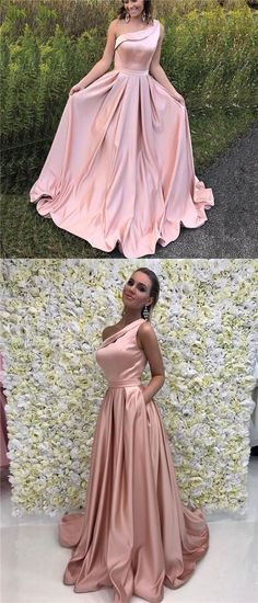 One Shoulder Satin Simple Long A-line Pink Elegant Formal Charming Prom Dresses, Newest Long Ball Gown, PD0579