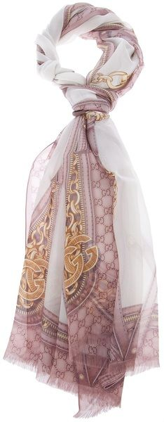 GUCCI  Pink Print Scarf  Rose and cream silk scarf from Gucci featuring a chain and bag print. $339.00