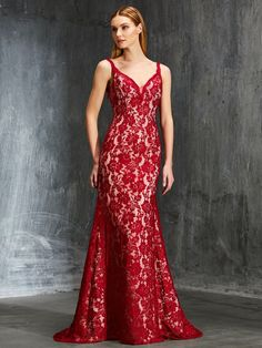c53e68d953 Sheath Column Spaghetti Straps Sleeveless Sweep Brush Train Applique Lace  Dresses - New classic red lace dress arrival! Show it at your prom or  pageant.