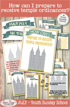 July Youth Sunday School: How can I prepare to receive temple ordinances? Youth Sunday School Lessons, Lds Sunday School, Temple Ordinances, Lds Primary Lessons, Psalm 24, Young Women Lessons, Lds Youth, Family Home Evening, Personal Progress