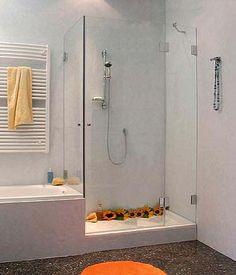 kleine bäder ideen wanne dusche glaswand abtrennung oberlicht ...