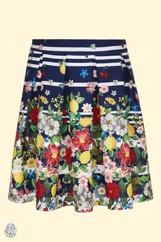 Yumi Girl Floral Stripe Pleated Skirt Navy | Yumi