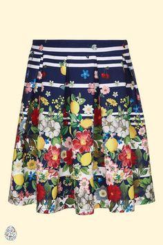 Yumi Girl Floral Stripe Pleated Skirt Navy   Yumi