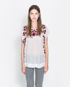 FLOWING EMBROIDERED TOP from Zara