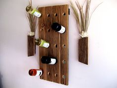 Rustic / Reclaimed / Barn Wood Wine Bottle Rack.  could also use pallet or skids
