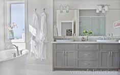 Warm gray bathroom vanity, Veranda Interiors