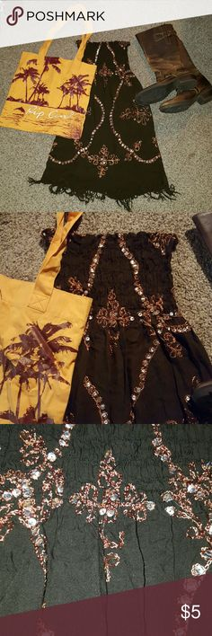 Sarong Dress Chocolate brown super soft dress with burnt orange thread design and silver sequins. Stretchy ruched top and fringe on bottom of skirt. Purchased in Cabo San Lucas, Mexico. Can be worn as a dress or swim coverup. Swim Coverups