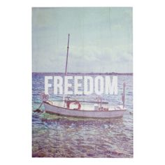 """Panneau en bois de pin """"Freedom""""  bleu   40 x 60 x 3 cm"""