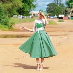 Top Green shweshwe dresses for 2018 - Reny styles South African Traditional Dresses, Traditional Dresses Designs, Traditional Wedding Dresses, Traditional Weddings, Wedding Dresses South Africa, African Wedding Dress, African Weddings, African Print Fashion, African Fashion Dresses