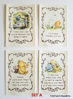 Winnie the Pooh Quotes, Prints for Framing, 2 Different Sets, Baby Shower, Birthday Party, Nursery, Decorations, Size: 4x6 or 5x7 Inches Cute prints to frame as decorations for your party. Inexpensive frames can be purchased at your local dollar store. Choose: Set A or Set B or