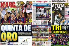 Champions League final: Best newspaper reaction after Barcelona claimed a ... Champions League  #ChampionsLeague