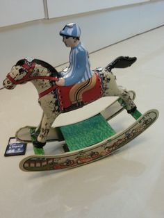 Tin Toy Vintage Horse Wind Up Metal Toy by xxeightiesxx on Etsy