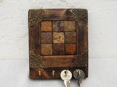Rustic Tile Key Rack, Decorative Wooden rack, Necklace holder, Hooks