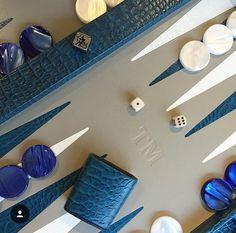 Backgammon cuir imprimé crocodile bleu - Personnalisation client