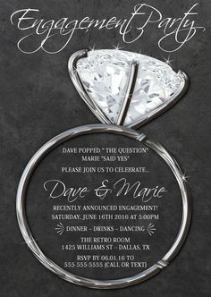 Bling Engagment Invitation, Engagement Party Invite,Announcement Chalkboard  Invitations, Couples Shower, Silver Diamond Ring,Black U0026 Silver  Engagement Invite Templates