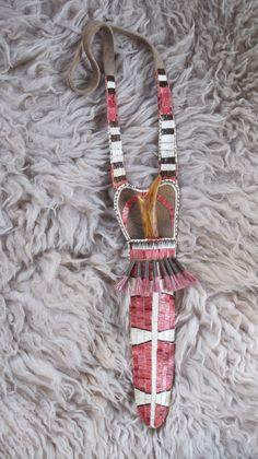 Knife Sheath - Neck knife - Quillwork - Woodland - Iroquois Made by Romana Ziemann