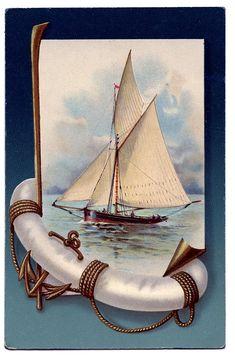 Vintage Nautical Clip Art - Beautiful Sailboat - The Graphics Fairy