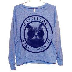 BAHAHAHA Karena & Katrina, you need this sweatshirt. @toneitup #cattitude