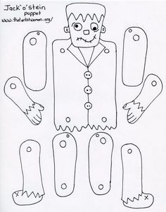 Frankenstein's monster puppet pattern for use with kids Halloween Arts And Crafts, Halloween Crafts For Kids, Holidays Halloween, Halloween Themes, Halloween Party, Halloween Decorations, Moldes Halloween, Adornos Halloween, Halloween Coloring