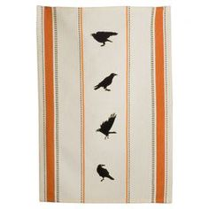 "Featuring an embroidered crow motif and stripe accents, this cotton dishtowel adds a graphic touch to your kitchen island or counter.  Product: DishtowelConstruction Material: CottonColor: NaturalDimensions: 26"" x 18"""