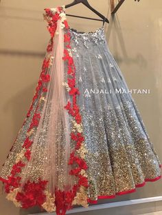 Grey sequin lehenga with Red floral border sheer dupatta!