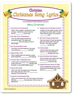 Fill-in-the blank of these Christian Christmas song lyrics to win! All songs are traditional Christian Christmas songs heard on the radio. Christmas Gift Exchange, Merry Christmas, Family Christmas, Christmas Holidays, Best Christmas Music, Christmas Crafts, Christmas Jesus, Christmas Things, Holiday Games