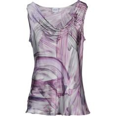 ARMANI COLLEZIONI Top (3 290 UAH) ❤ liked on Polyvore featuring tops, purple, frilly tops, sleeveless ruffle top, ruffle top, purple top and flounce tops