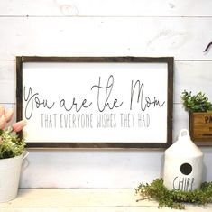 Make mom feel special this Mothers Day with this beautiful sign. It comes framed in a dark walnut frame that is distressed. It is ready to hang with a sawtooth hanger. Mothers Day Signs, Signs For Mom, Mothers Day Crafts For Kids, Mothers Day Cards, Diy Mother's Day Crafts, Mother's Day Diy, Paper Crafts, Diy Gifts For Mom, Diy Mothers Day Gifts