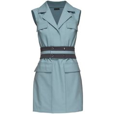 LATTORI SLEEVELESS BELTED MINI DRESS (2.990 NOK) ❤ liked on Polyvore featuring dresses, blue wool dress, sleeveless wool dress, no sleeve dress, blue mini dress and sporty dresses