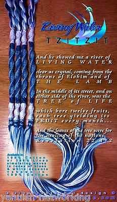 The Living Water Tzitzit 1 set of 4 pre-tied Tassels in Cotton. There are 40 wraps of royal blue & 40 wraps of light Blue, enclosed by wraps of white and blue at each end. Jewish Tallit, Cultura Judaica, Rivers Of Living Water, Learn Hebrew, Hebrew Words, Prayer Shawl, Torah, Creative Thinking, Prayers