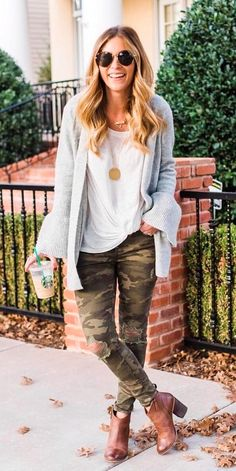 #fall #outfits women's grey long-sleeved cardigan and white scoop-neck top
