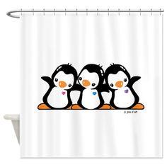penguin+bath+accessories | ... > Baby Boy Bathroom Accessories & Décor > Penguins Shower Curtain