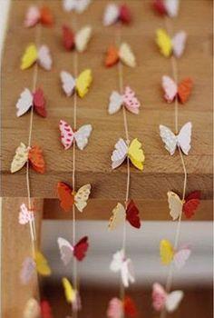 Decoración de una habitación con cortinas de mariposas de papel   Solountip.com