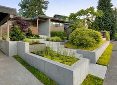 bilder zur vorgartengestaltung idee steine kiesel blumen pflanzen arten robust beton