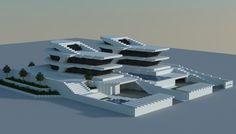Futuristic mansion made in minecraft.