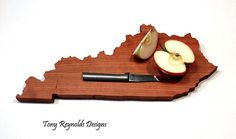 Check out Kentucky  State Shaped Cutting Board Cherry Wood by Tony Reynolds Designs. Great Handmade Gift Idea on shadytreecreations
