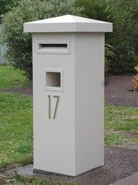 Pillar Letterbox with Peak or Flat Sloping Roof Compound Wall, Concrete Pad, Door Numbers, White Appliances, White Doors, Colour List, Door Locks, Garden Accessories, Galvanized Steel