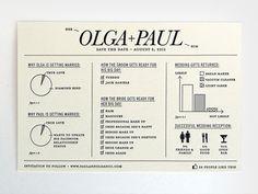 Minimalist & Modern Olga & Paul Infographic Wedding Invite by Natalia Grosner.