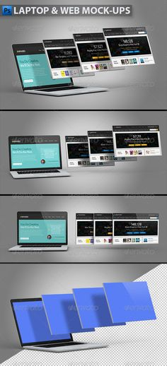 Laptop and Website Mockups — Photoshop PSD #3d portfolio #3d template • Available here → https://graphicriver.net/item/laptop-and-website-mockups/5593957?ref=pxcr